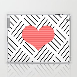 Red heart - Abstract geometric pattern - black and white. Laptop & iPad Skin