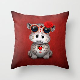 Red Day of the Dead Sugar Skull Hippo Baby Throw Pillow