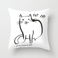 my mad fat diary Throw Pillows featuring Fat Cat by Josh Filhol