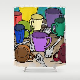 Cups and Spoons Shower Curtain