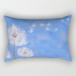 flying dandelion watercolor painting Rectangular Pillow