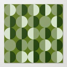 Retro circles grid green Canvas Print