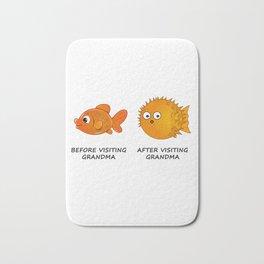 Before and After visiting Grandma - Funny Fish Illustration Bath Mat