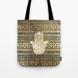 Faux Print Gold Hamsa Hand and Tribal Aztec Tote Bag