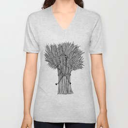 barley crop hand drawn doodle black and white Unisex V-Neck