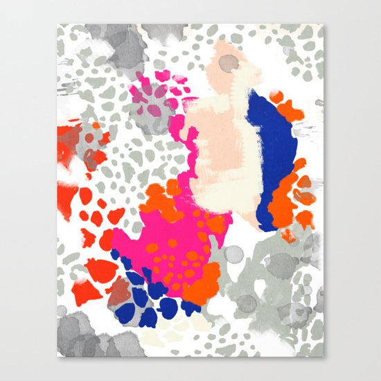 Mica - Abstract painting in modern fresh colors navy, orange, pink, cream, white, and gold Canvas Print
