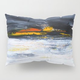 black, orange, white abstract, flipped Pillow Sham