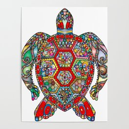 Colorful Sea Turtle Abstract Mandala Poster