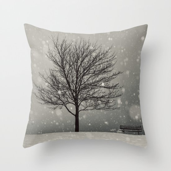 January Snow Throw Pillow