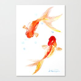 Goldfish, Two Koi Fish, Feng Shui, yoga Asian meditation design Canvas Print