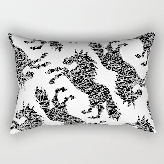White Lines Unicorn Rectangular Pillow