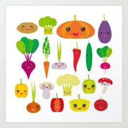 Kawaii vegetables peppers, pumpkin beets carrots, eggplant, red hot peppers, cauliflower, broccoli Art Print