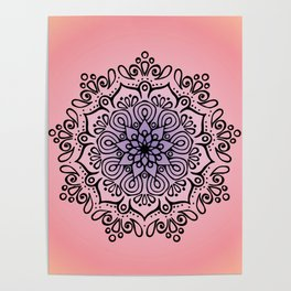 Baesic Sunset Traquil Mandala Poster