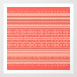 Coral Tribal Pattern  Art Print