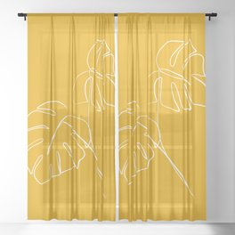 Monstera minimal - yellow Sheer Curtain