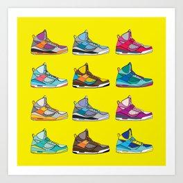 Colorful Sneaker set yellow illustration original pop art graphic print Art Print