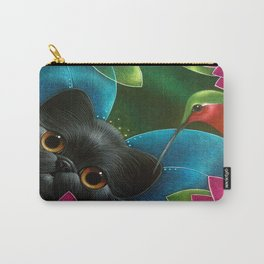 FAIRY KITTEN CAT with RUBY HUMMINGBIRD  Carry-All Pouch