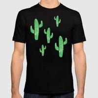 Linocut Cacti Green Black Mens Fitted Tee MEDIUM