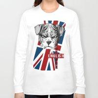 english bulldog Long Sleeve T-shirts featuring English Bulldog by Det Tidkun