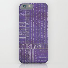 Tribal Ethnic pattern silver on  purple iPhone Case