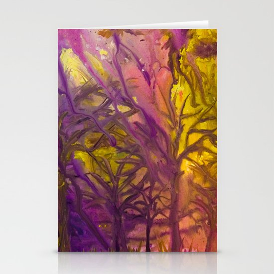 Psychedelic Forest Fire Stationery Cards