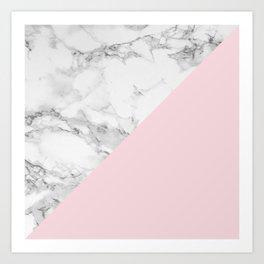 Marble + Pastel Pink Art Print