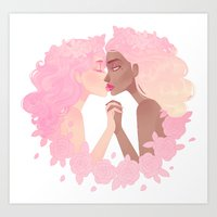 sassy Art Prints featuring Sassy Kisses by Petite Passerine
