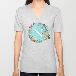 Personalized Monogram Initial Letter N Blue Watercolor Flower Wreath Artwork Unisex V-Neck