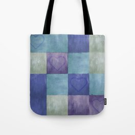 Blue Tiles with Hearts Tote Bag