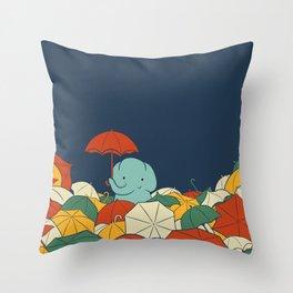 Umbrellaphant Throw Pillow