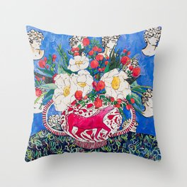 Horse Urn with Tiny Apples and Matilija Queen of California Poppies Floral Still Life Throw Pillow