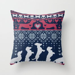 Fair Isle Knitting Doxie Love // navy blue background white and red dachshunds dogs bones paws and hearts Throw Pillow