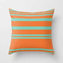Cyan and Orange Stripes Minimalist Color Block Pattern Throw Pillow