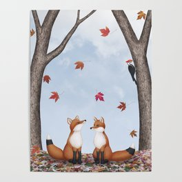 foxes, falling leaves, & pileated woodpecker Poster