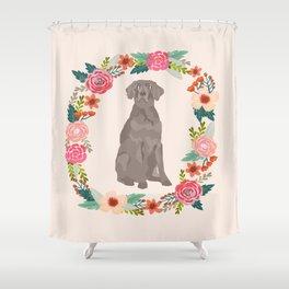 weimaraner floral wreath dog breed pure breed pet portrait Shower Curtain