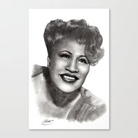 fitzgerald Canvas Prints featuring Ella Fitzgerald by Chloé Arros