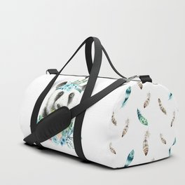Watercolor Floral Spray Boho Panda Duffle Bag