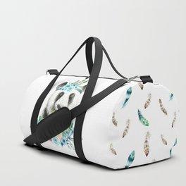 Watercolor Floral Spray Boho Panda Duffle Bag