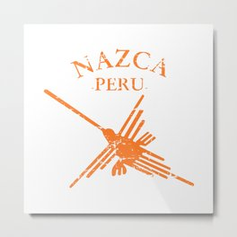 Orange Nazca Lines Hummingbird Distressed Metal Print