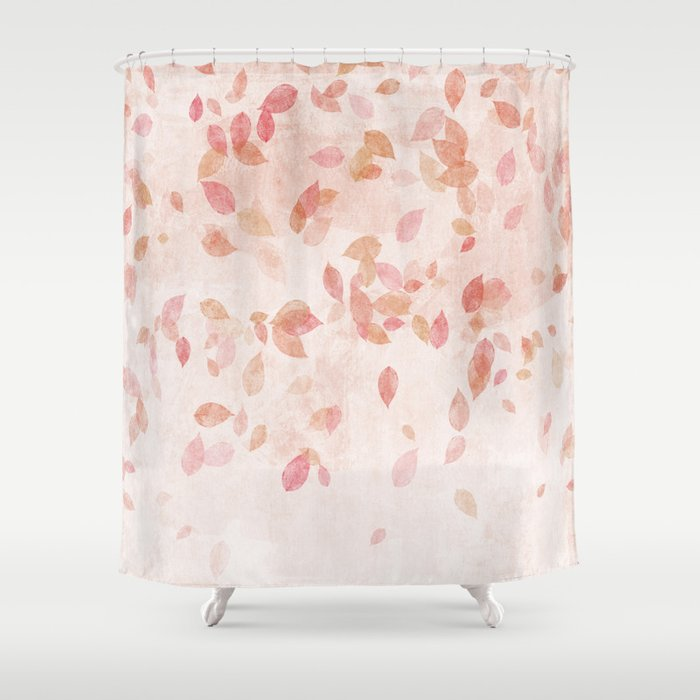 pink and gold shower curtain. My favourite colour  PINK OCTOBER Indian Summer Rose Gold autumnal leaves Shower Curtain