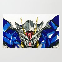 gundam Area & Throw Rugs featuring Gundam 00 by Glen Howy
