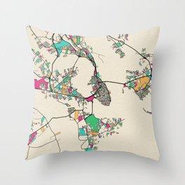 Colorful City Maps: Charleston, South Carolina Throw Pillow