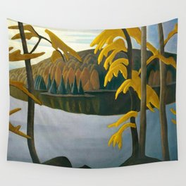 Golden Autumn, Northern Lake foliage autumnal landscape painting by Lawren Harris Wall Tapestry