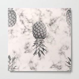Marble Texture Seamless Pattern Pineapple 052 Metal Print