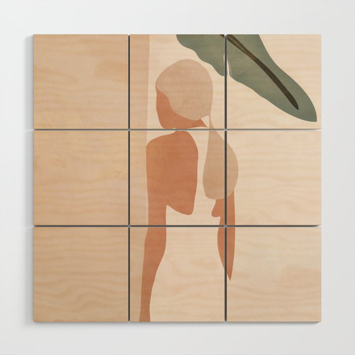 Abstract Woman in a Dress Wood Wall Art
