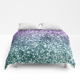 Aqua Purple Ombre Glitter #4 #decor #art #society6 Comforters