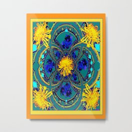 Yellow-Teal Color Geometric Western Style Floral Abstract Metal Print