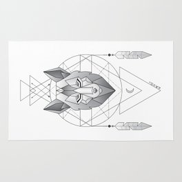Geometric Wolf Dream Catcher Rug