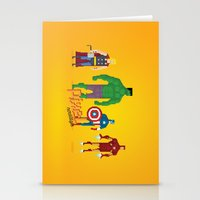 super heroes Stationery Cards featuring Super Heroes - Pixel Nostalgia by Boo! Studio