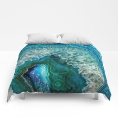 Aqua turquoise agate mineral gem stone- Beautiful backdrop Comforters
